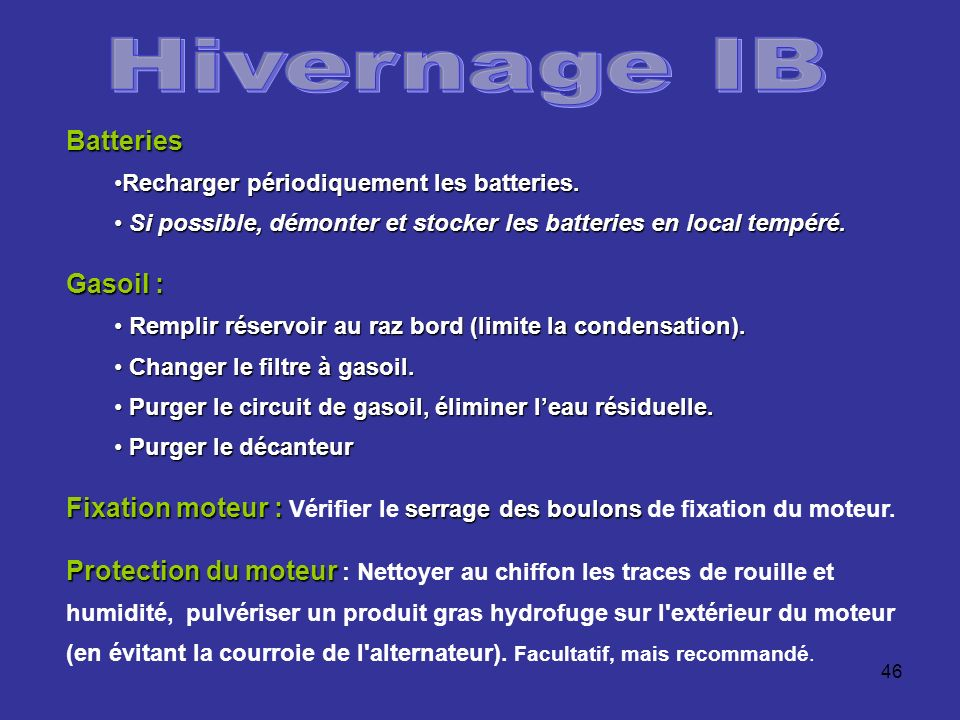 Hivernage IB Batteries Gasoil :