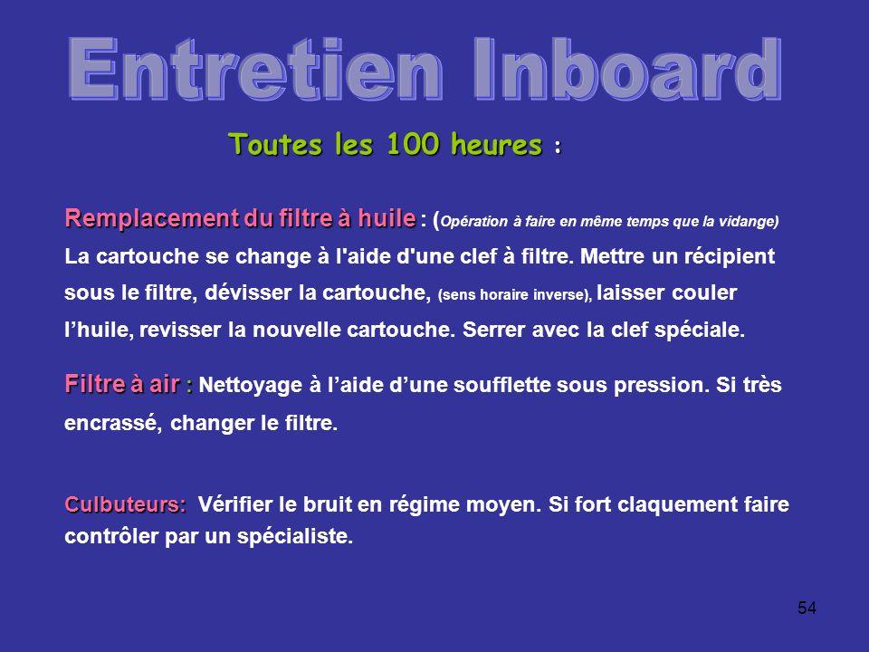 Entretien Inboard Toutes les 100 heures :