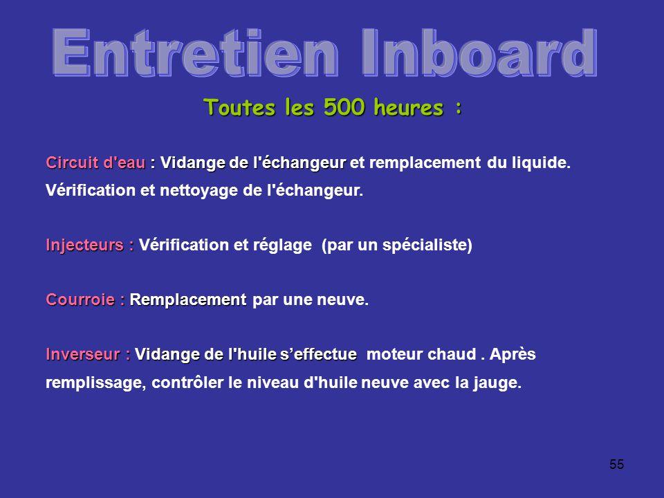 Entretien Inboard Toutes les 500 heures :