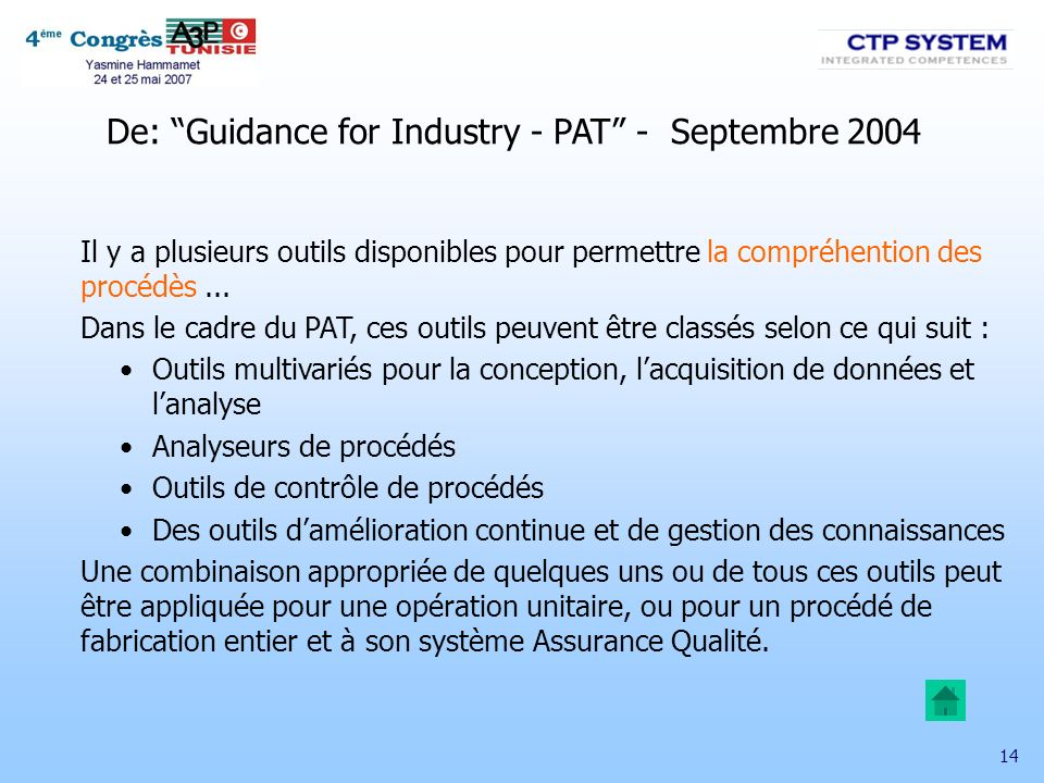 De: Guidance for Industry - PAT - Septembre 2004