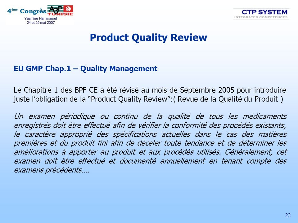 Product Quality Review