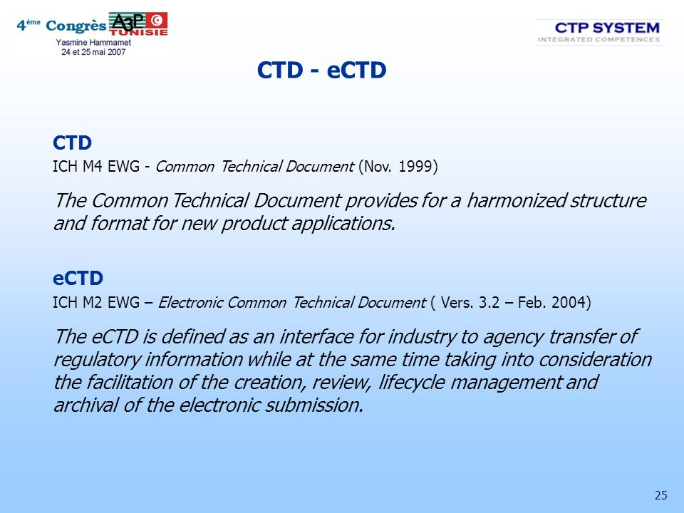 CTD - eCTD CTD. ICH M4 EWG - Common Technical Document (Nov. 1999)