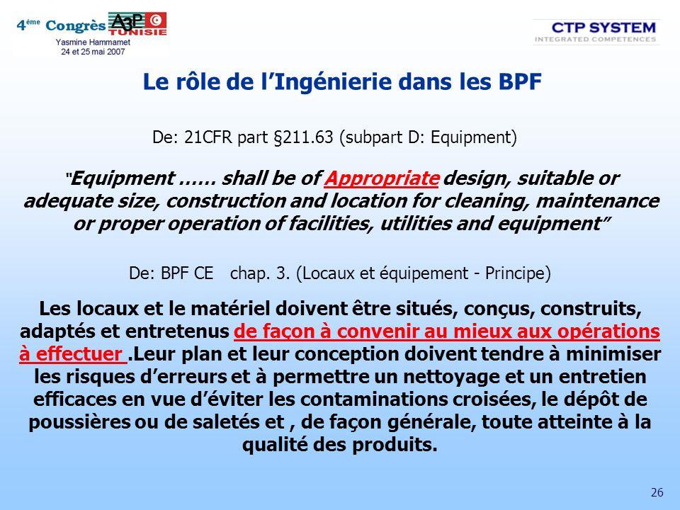 Le rôle de l'Ingénierie dans les BPF