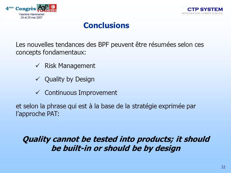 Conclusions Les nouvelles tendances des BPF peuvent être résumées selon ces concepts fondamentaux: Risk Management.
