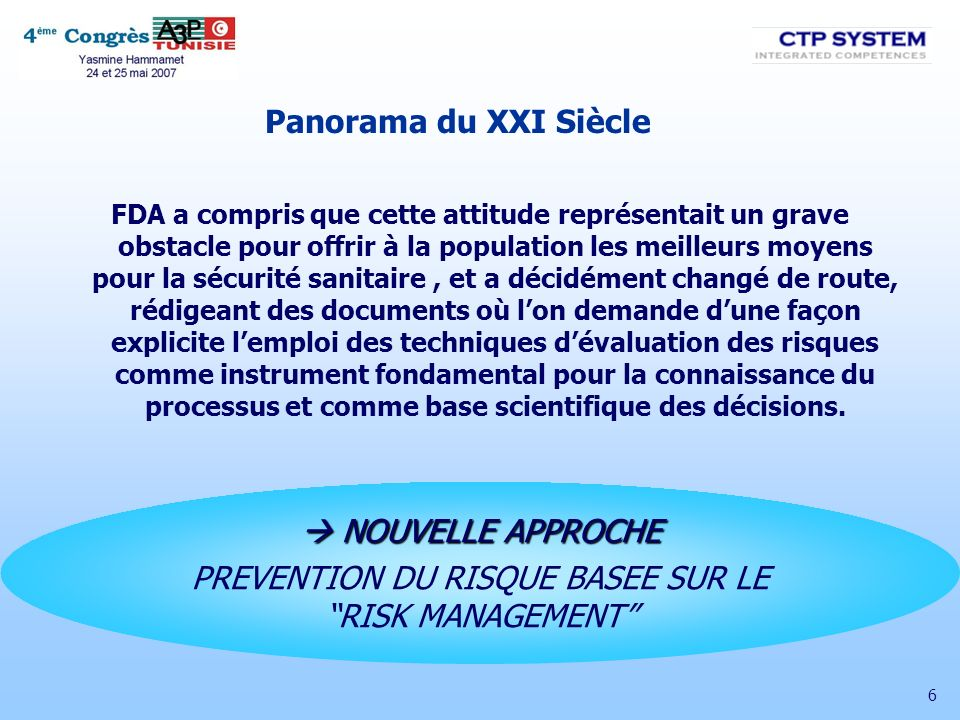 PREVENTION DU RISQUE BASEE SUR LE RISK MANAGEMENT