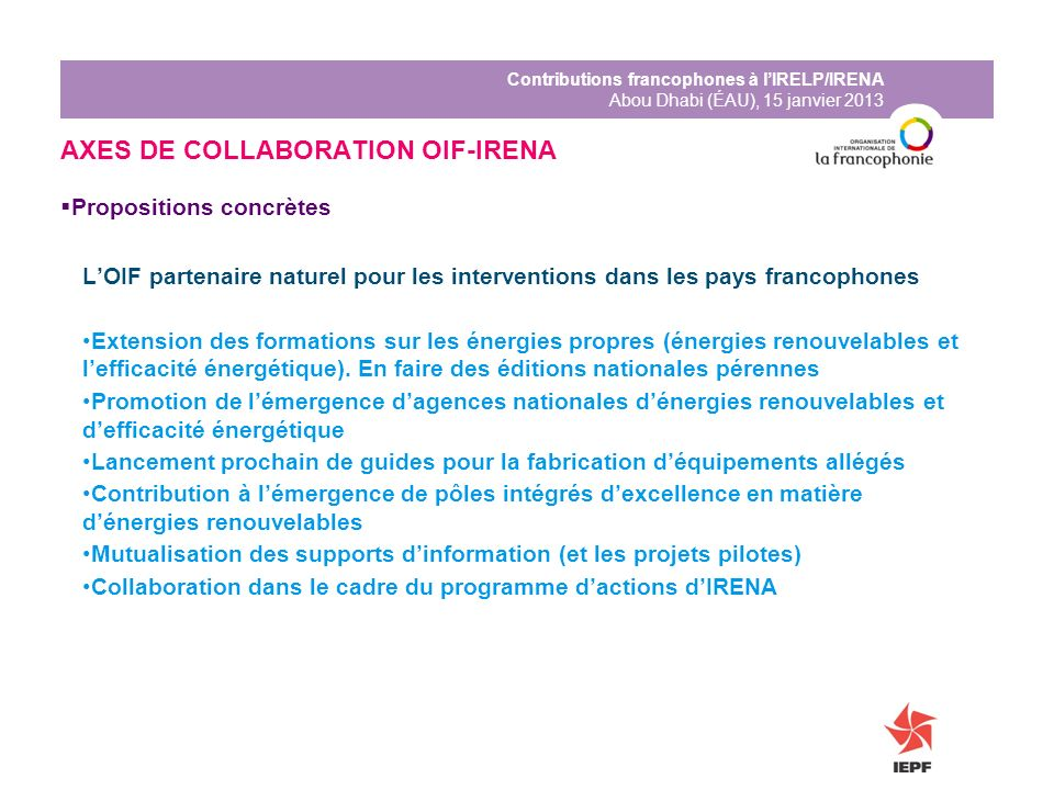 AXES DE COLLABORATION OIF-IRENA