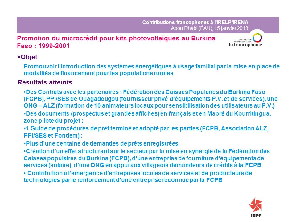 Promotion du microcrédit pour kits photovoltaïques au Burkina Faso : 1999-2001