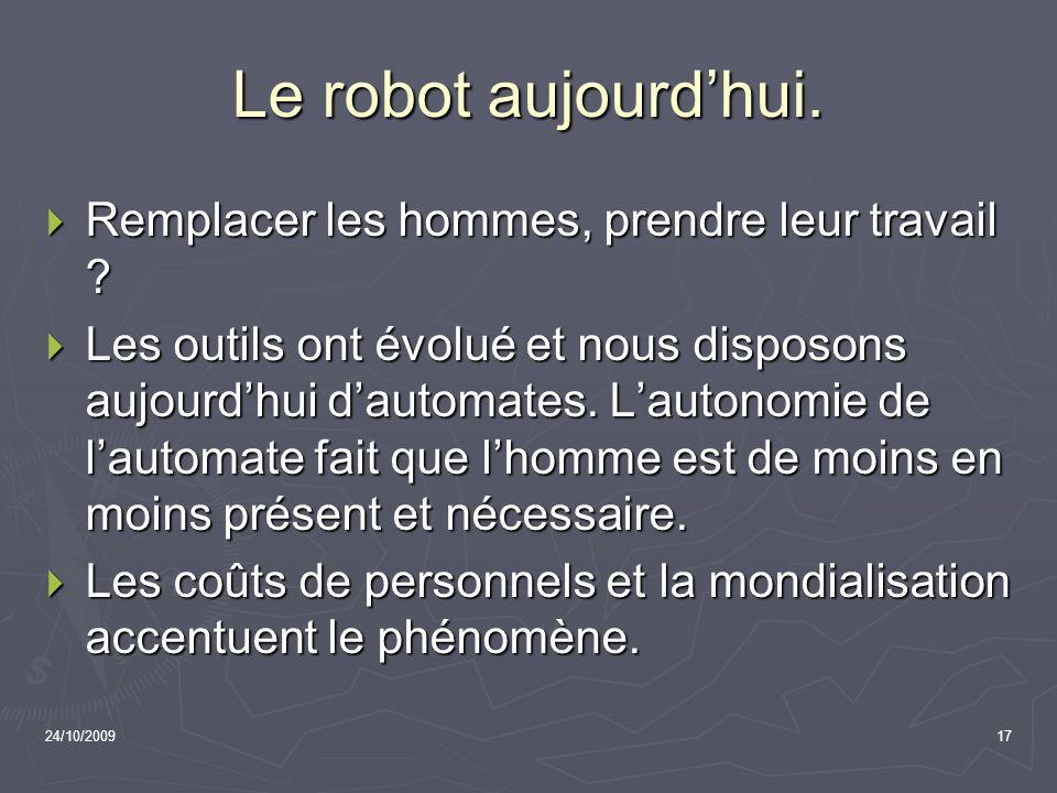 Le robot aujourd'hui. Remplacer les hommes, prendre leur travail
