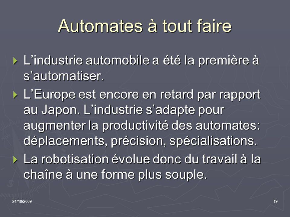 Automates à tout faire L'industrie automobile a été la première à s'automatiser.
