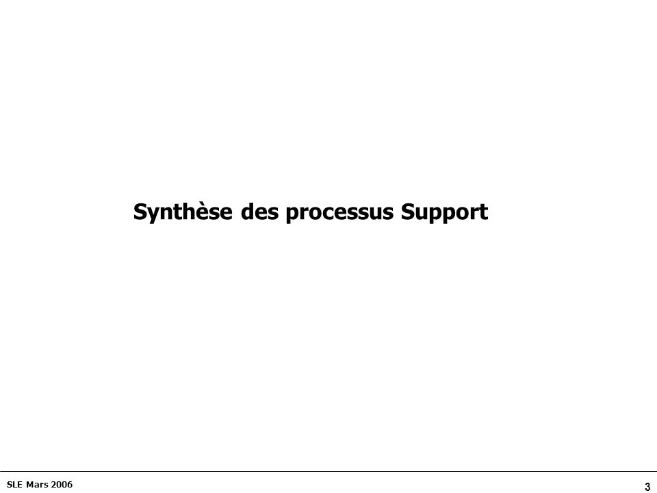 Synthèse des processus Support