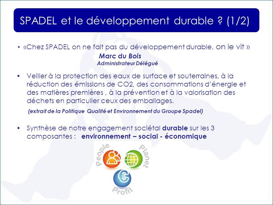 SPADEL et le développement durable (1/2)