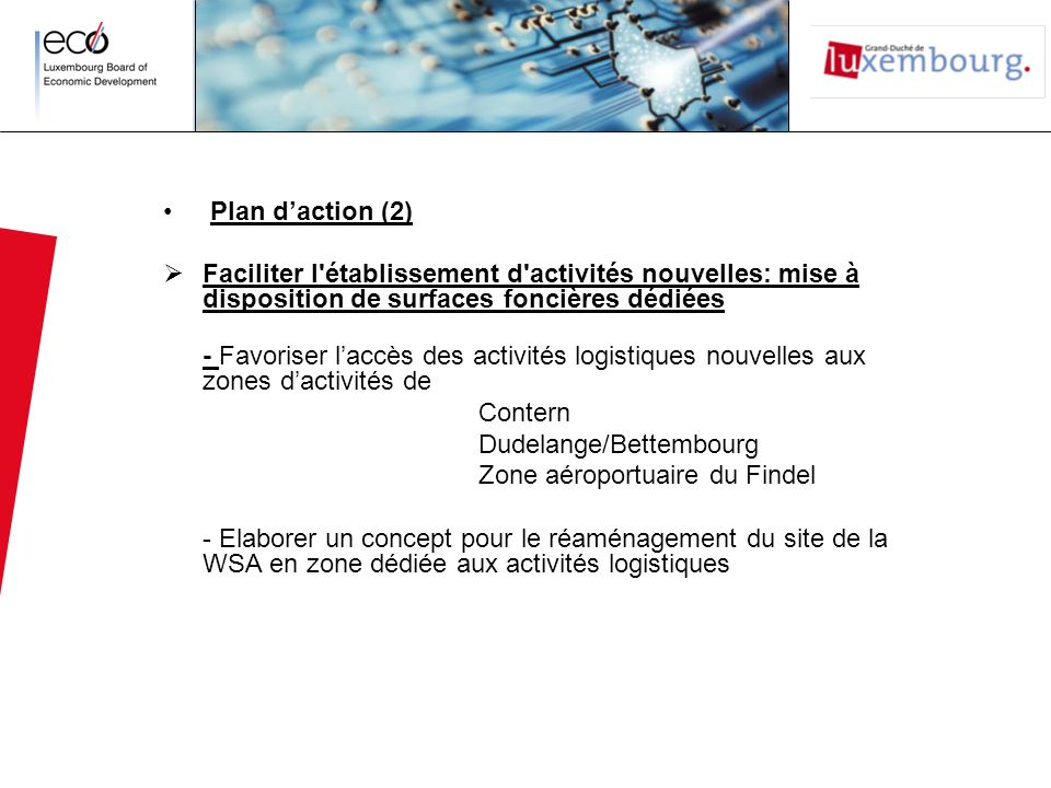 Plan d'action (2) Faciliter l établissement d activités nouvelles: mise à disposition de surfaces foncières dédiées.