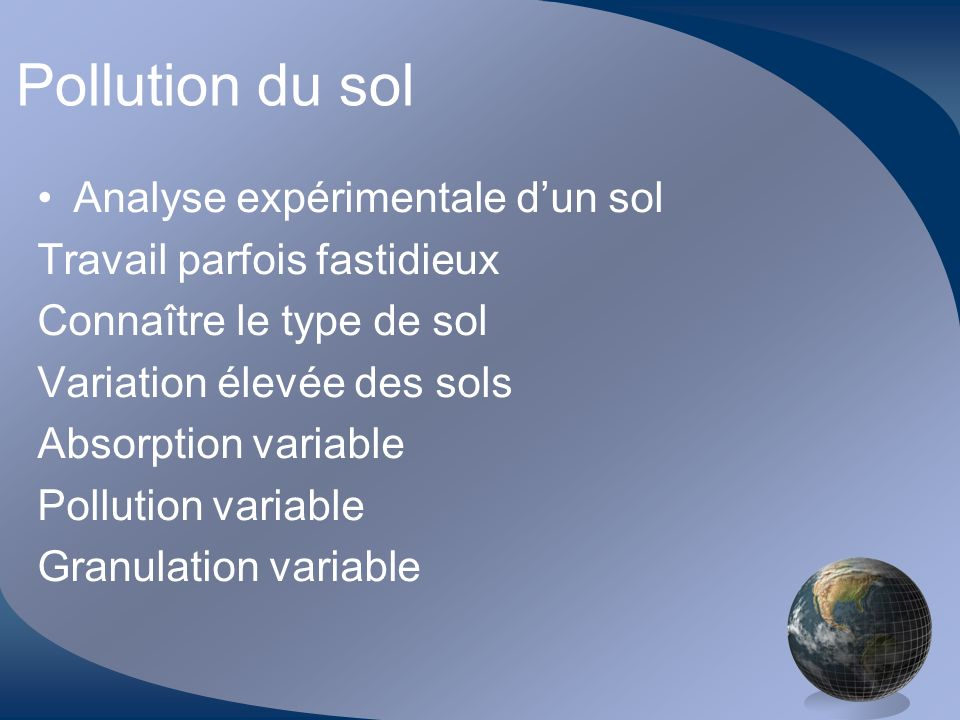Pollution du sol Analyse expérimentale d'un sol