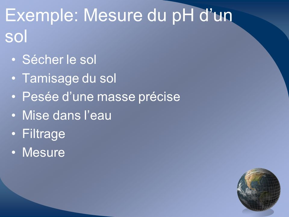 Exemple: Mesure du pH d'un sol