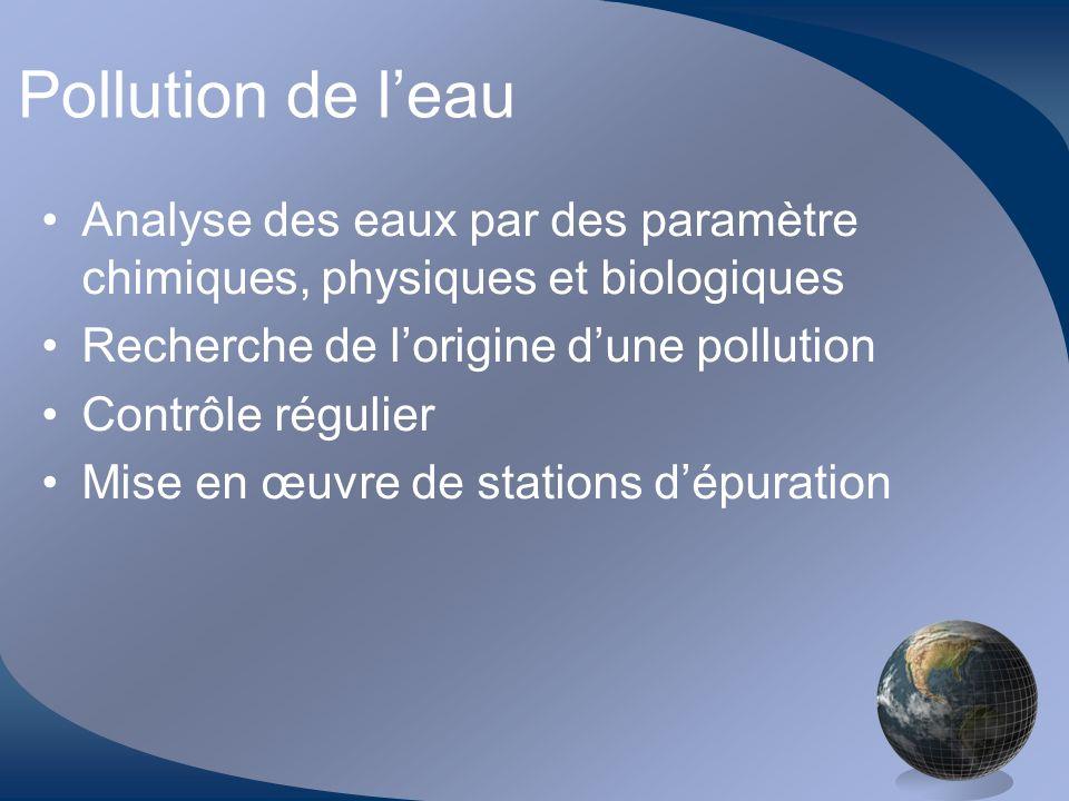 Pollution de l'eau Analyse des eaux par des paramètre chimiques, physiques et biologiques. Recherche de l'origine d'une pollution.