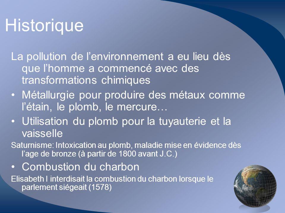 Historique La pollution de l'environnement a eu lieu dès que l'homme a commencé avec des transformations chimiques.