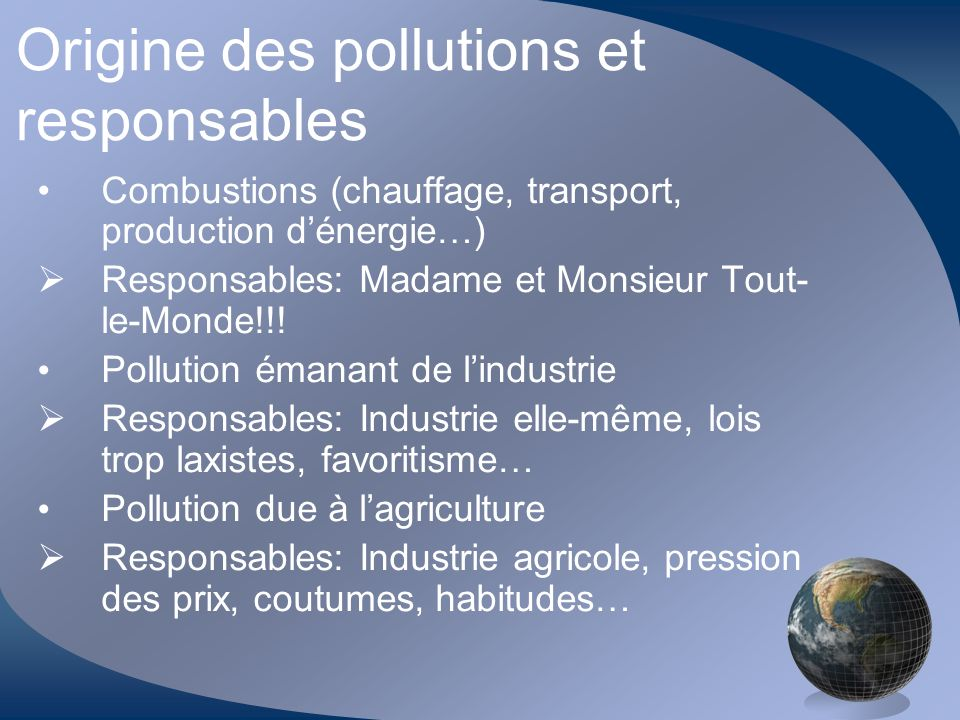 Origine des pollutions et responsables