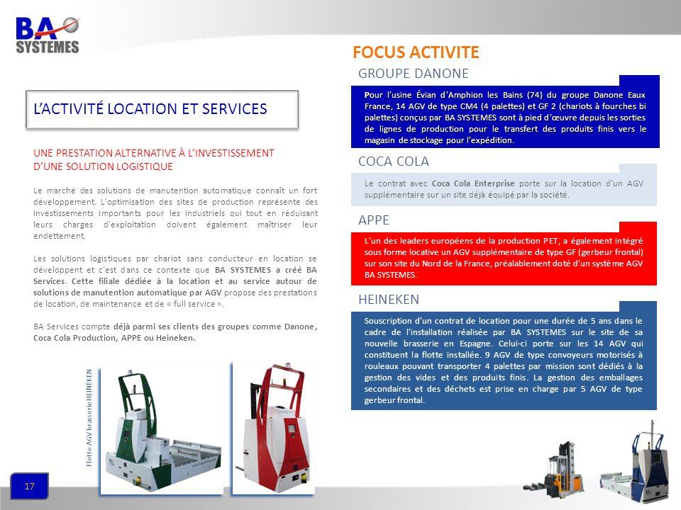 FOCUS ACTIVITE L'ACTIVITÉ LOCATION ET SERVICES GROUPE DANONE COCA COLA