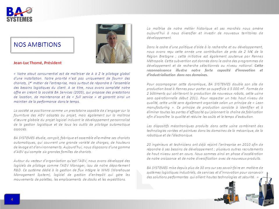 NOS AMBITIONS Jean-Luc Thomé, Président