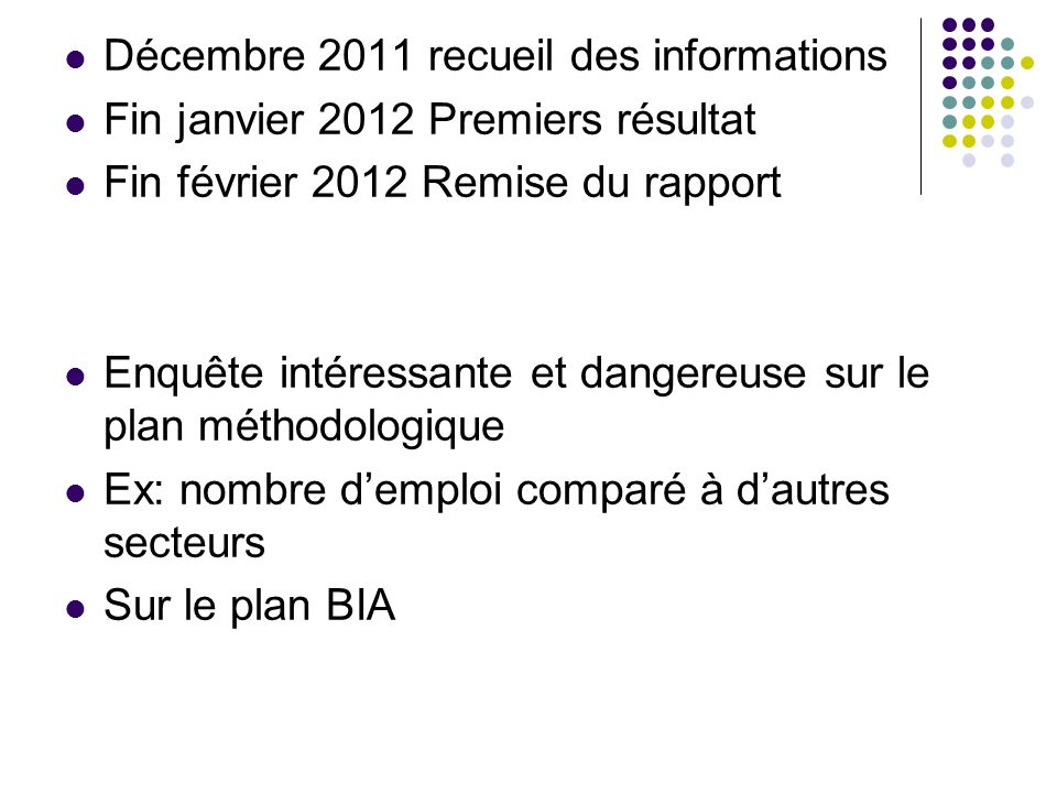Décembre 2011 recueil des informations