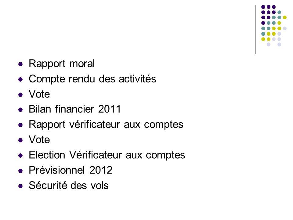 Rapport moral Compte rendu des activités. Vote. Bilan financier 2011. Rapport vérificateur aux comptes.