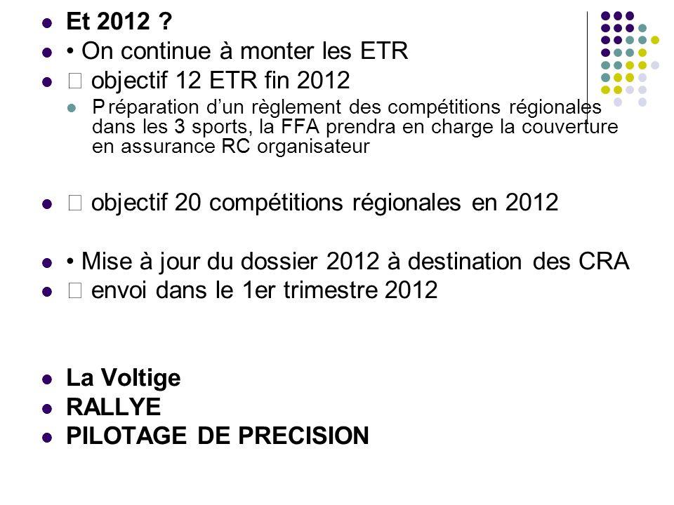 • On continue à monter les ETR  objectif 12 ETR fin 2012
