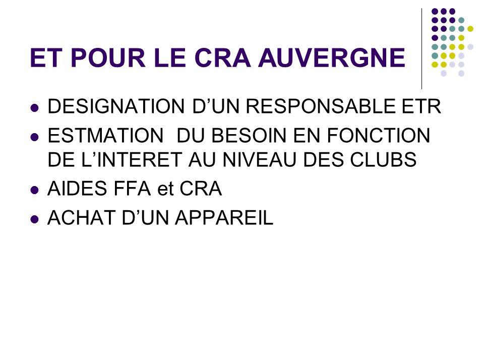 ET POUR LE CRA AUVERGNE DESIGNATION D'UN RESPONSABLE ETR