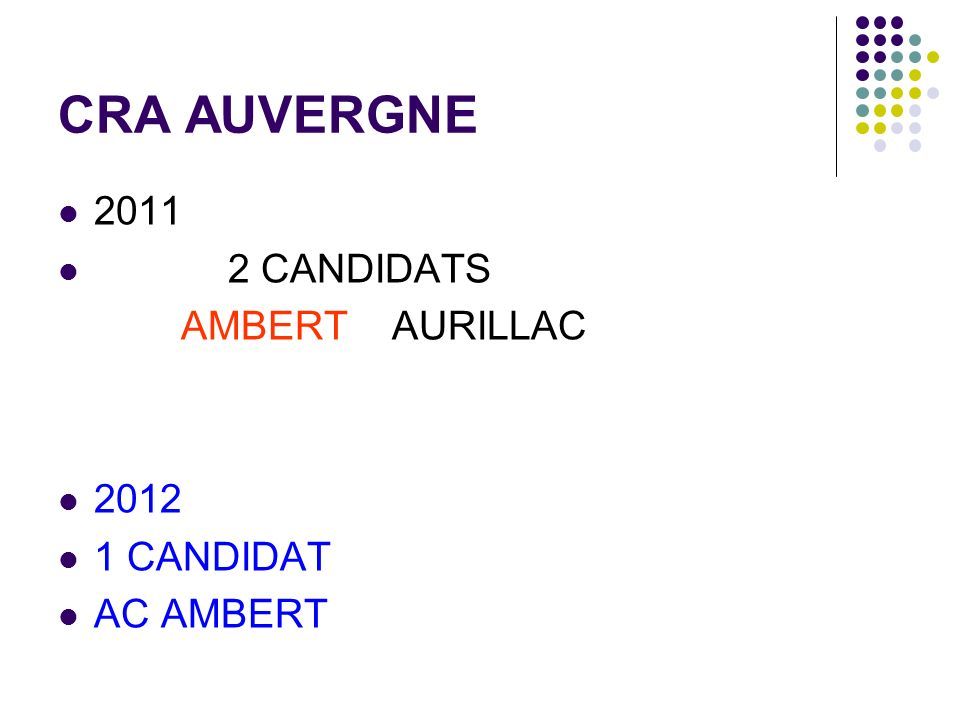 CRA AUVERGNE 2011 2 CANDIDATS AMBERT AURILLAC 2012 1 CANDIDAT