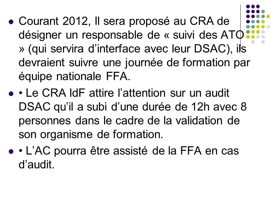 Courant 2012, Il sera proposé au CRA de désigner un responsable de « suivi des ATO » (qui servira d'interface avec leur DSAC), ils devraient suivre une journée de formation par équipe nationale FFA.