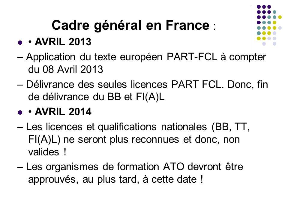 Cadre général en France :