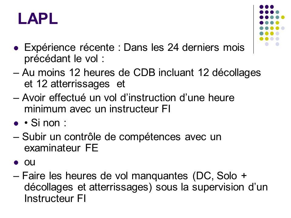 LAPL Expérience récente : Dans les 24 derniers mois précédant le vol :