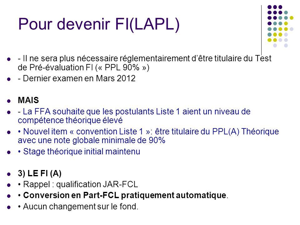 Pour devenir FI(LAPL) - Il ne sera plus nécessaire réglementairement d'être titulaire du Test de Pré-évaluation FI (« PPL 90% »)