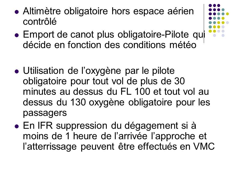 Altimètre obligatoire hors espace aérien contrôlé