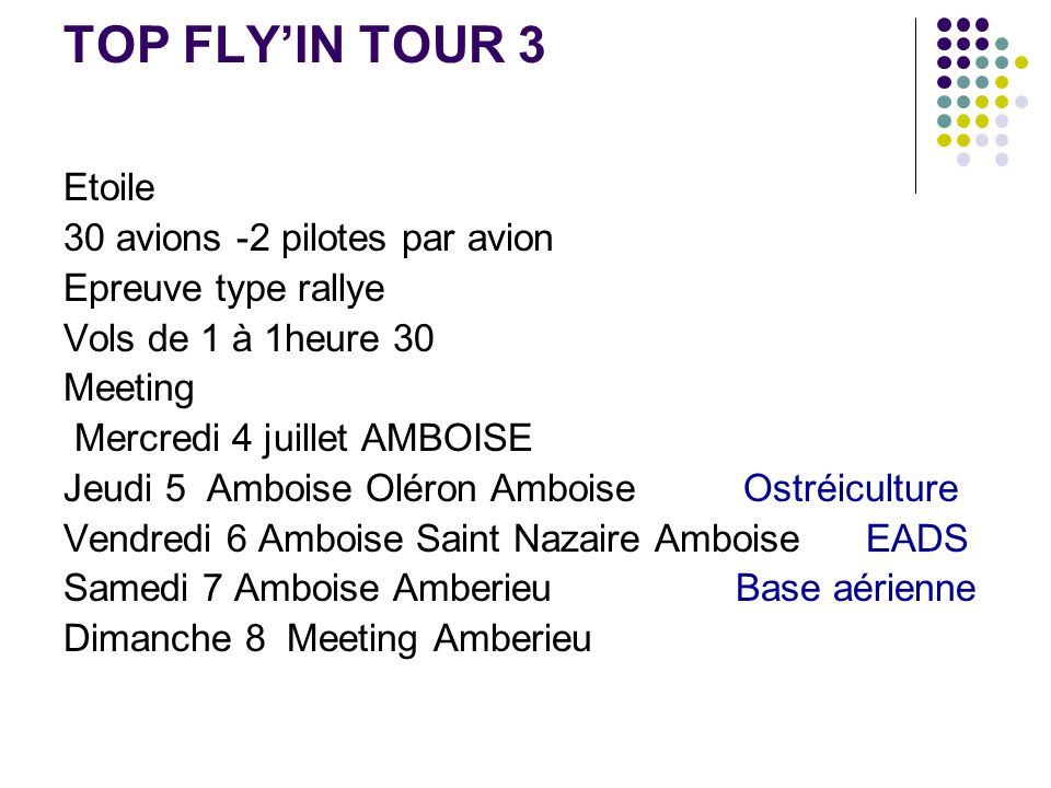 TOP FLY'IN TOUR 3 Etoile 30 avions -2 pilotes par avion