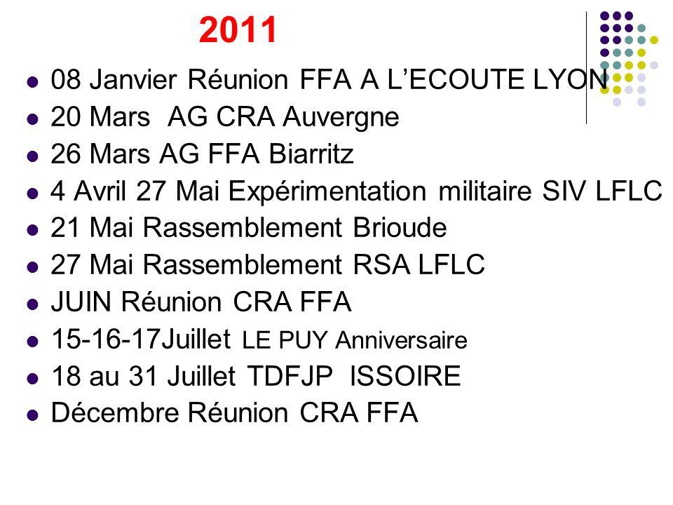 2011 08 Janvier Réunion FFA A L'ECOUTE LYON 20 Mars AG CRA Auvergne