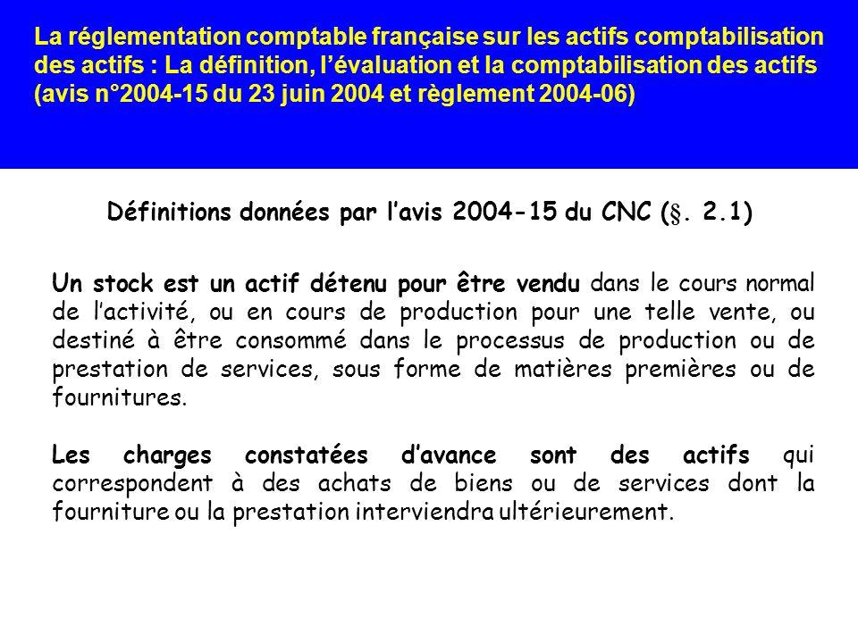Définitions données par l'avis 2004-15 du CNC (§. 2.1)