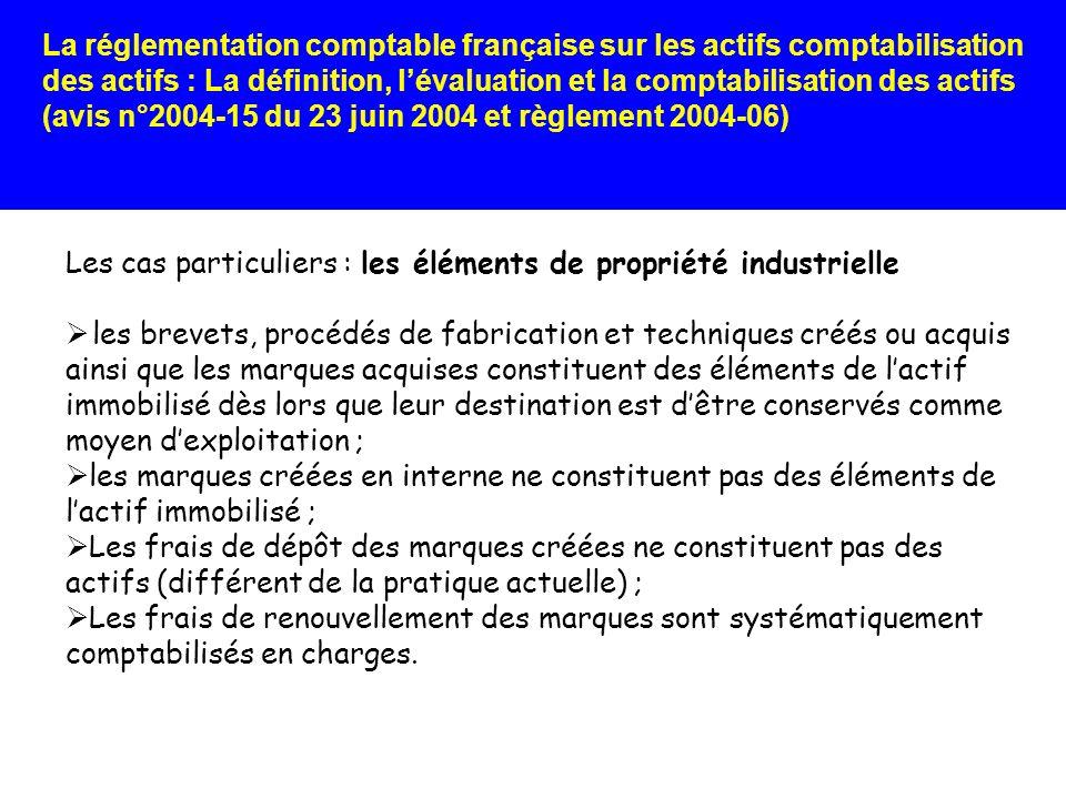 Les cas particuliers : les éléments de propriété industrielle