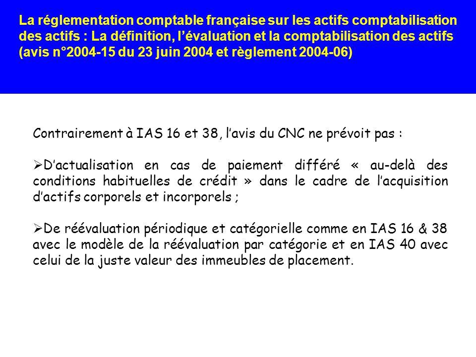 Contrairement à IAS 16 et 38, l'avis du CNC ne prévoit pas :