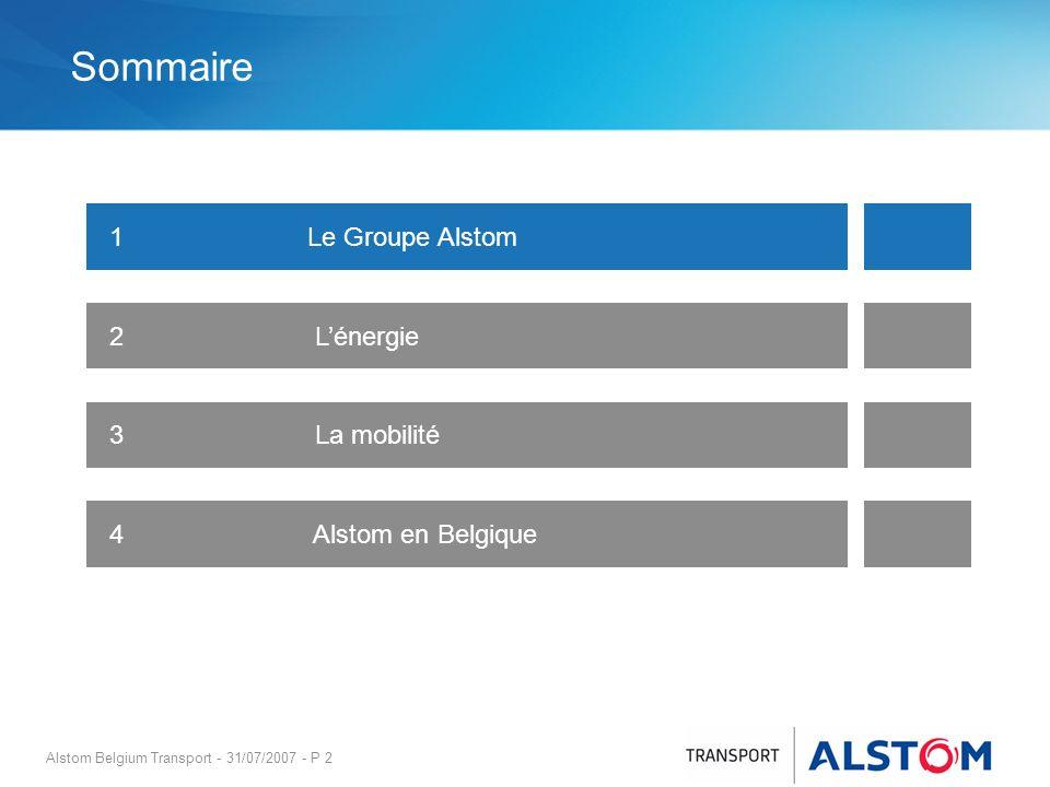 Sommaire 1 Le Groupe Alstom 2 L'énergie 3 La mobilité