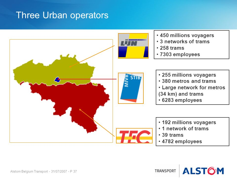 Three Urban operators 450 millions voyagers 3 networks of trams