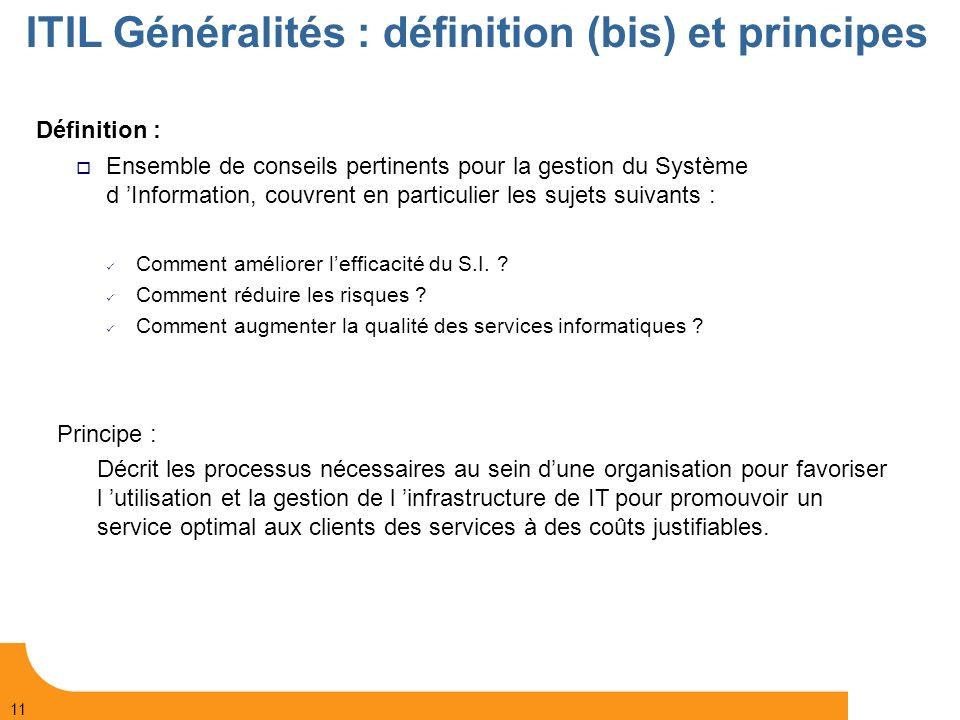 ITIL Généralités : définition (bis) et principes