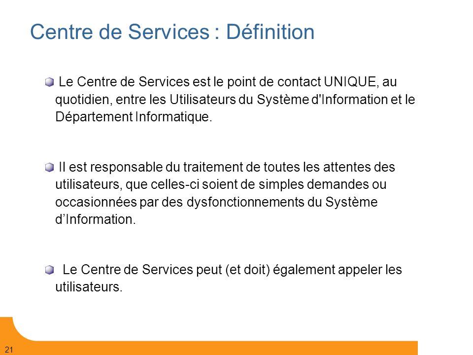 Centre de Services : Définition