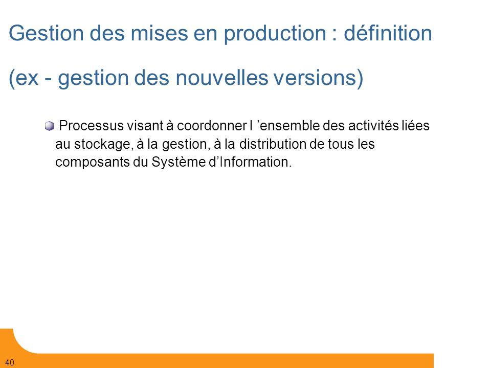 Gestion des mises en production : définition (ex - gestion des nouvelles versions)