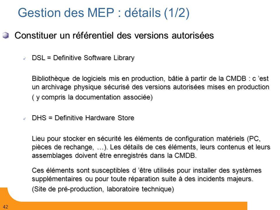 Gestion des MEP : détails (1/2)