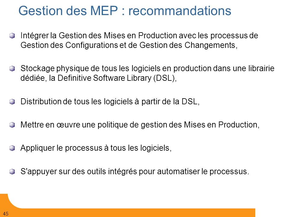 Gestion des MEP : recommandations