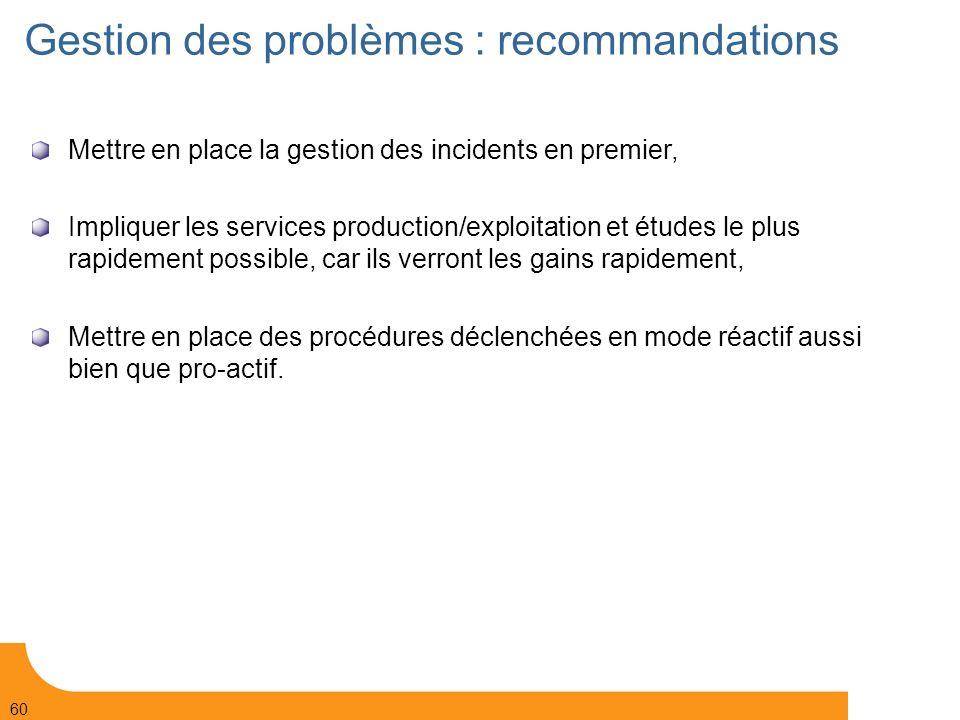 Gestion des problèmes : recommandations