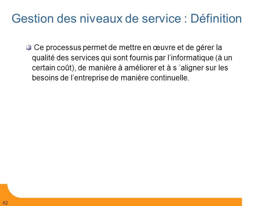 Gestion des niveaux de service : Définition