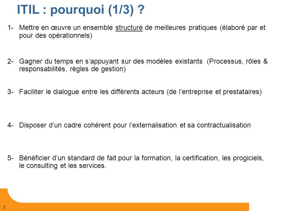 ITIL : pourquoi (1/3) 1- Mettre en œuvre un ensemble structuré de meilleures pratiques (élaboré par et pour des opérationnels)