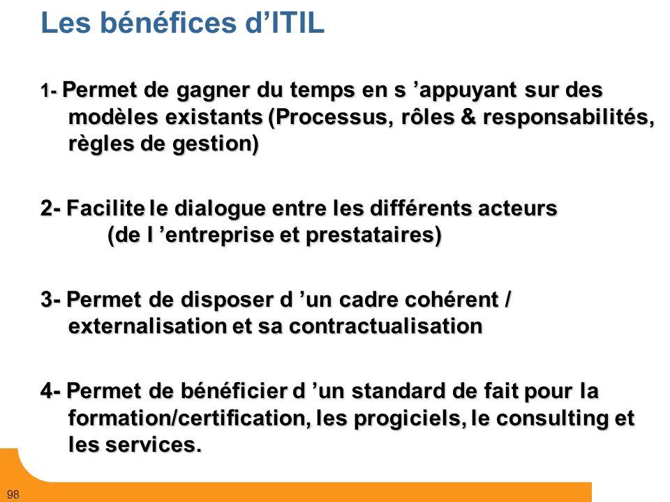 Les bénéfices d'ITIL 1- Permet de gagner du temps en s 'appuyant sur des modèles existants (Processus, rôles & responsabilités, règles de gestion)