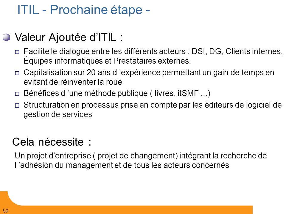 ITIL - Prochaine étape -
